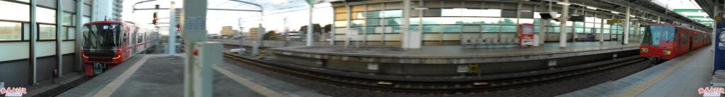 鳴海駅:何とか写せた9500系と5300系の並びw