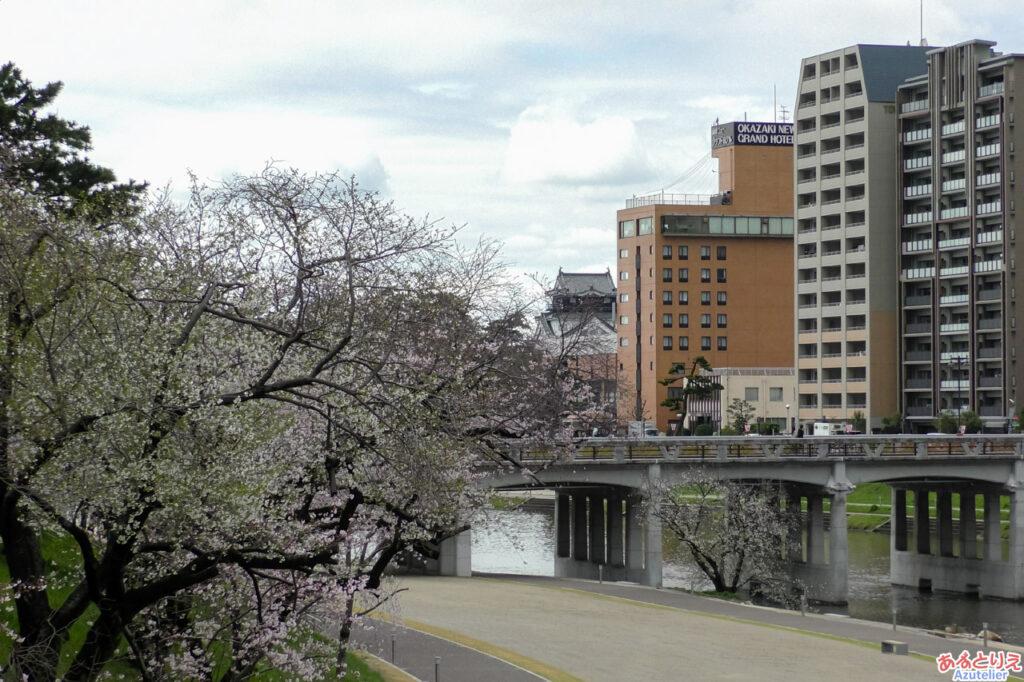 桜城橋より岡崎城と桜
